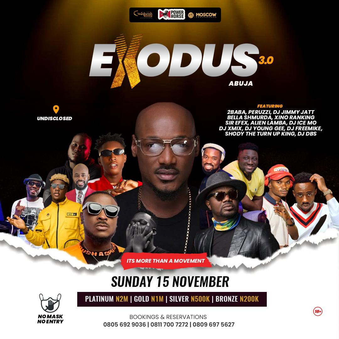 2Face Idibia To Storm And Headline Exodus 3.0 In Abuja